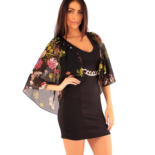 Lili London Tanja mekko kukkakuvio musta - Mekot - Juhlamekot  78410db2f0