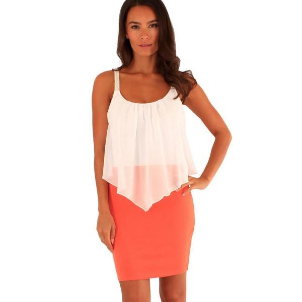 Lili London Annie mekko oranssi valkoinen - Mekot - Juhlamekot ... 7b95bcfcad