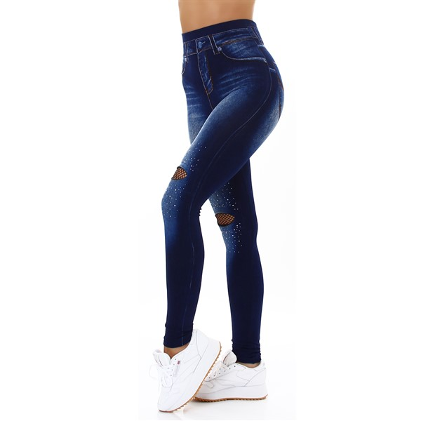 Top Look jeanslook leggingsit sininen
