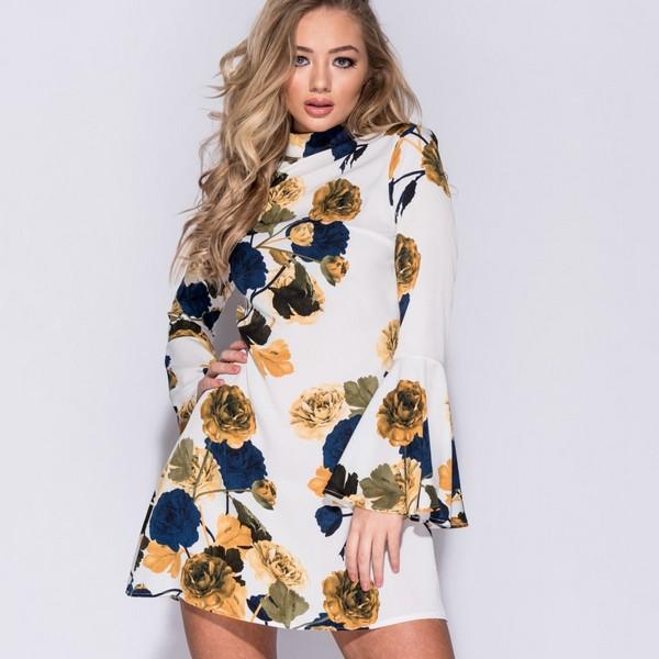Parisian Flare Sleeve mekko valk. kukkakuvio - Mekot - Juhlamekot ... 0b9c09b8d6
