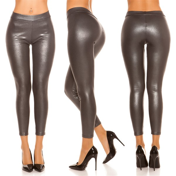 Koucla Wetlook leggingsit t.harmaa