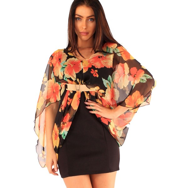 Lili London Henna mekko musta kukkakuvio - Mekot - Juhlamekot  04bb1be32f