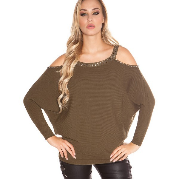 Koucla Cold Shoulder Rivets paita khaki