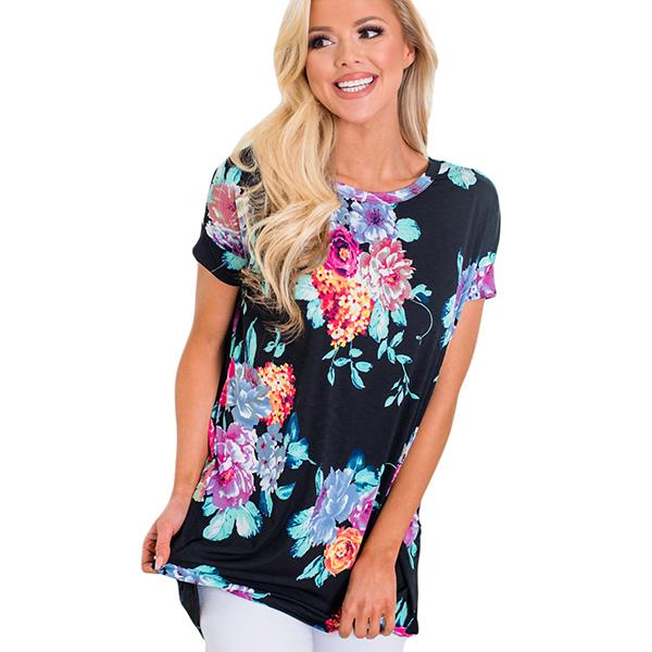Carolyn tunika musta kukkakuvio - Paidat - T-paidat  9cb225c4fe