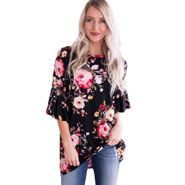 Belle tunika pinkki kukkakuvio - Paidat - T-paidat  a0c613000b