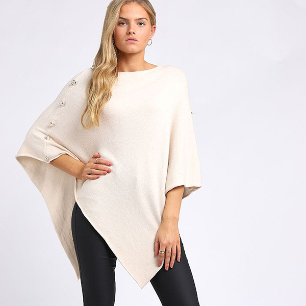 Classy Buttoned poncho beige