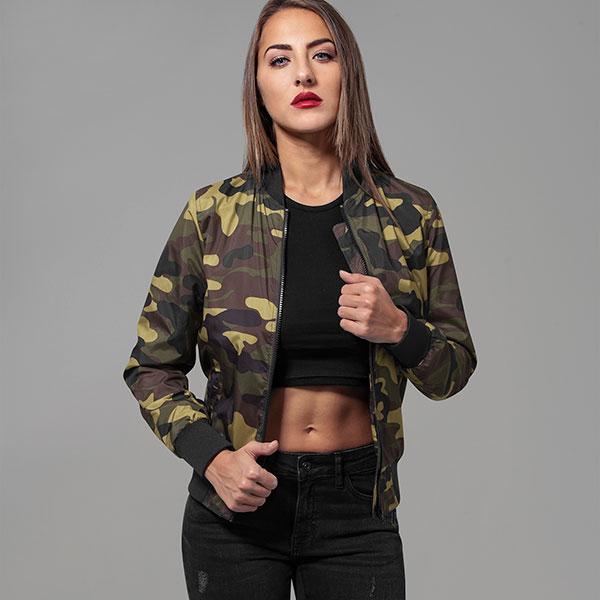 Urban Classics Ladies Light Bomber Jacket Camo Naisten