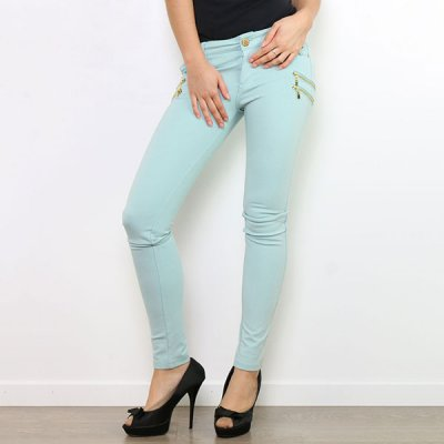Cookie Seven stretch-housut aqua