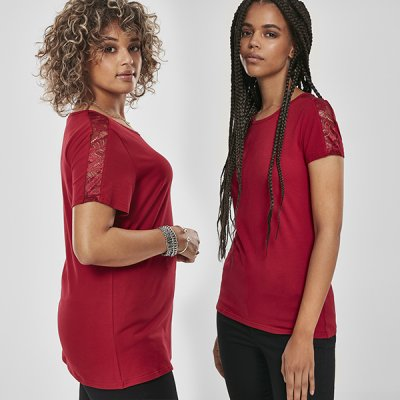 Urban Classics Laces Shoulder Stripes t-paita burgundy